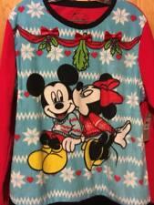 Disney Mickey kissing Minnie Women's Fleece Pajama set Large MISTLETOE CHRISTMAS