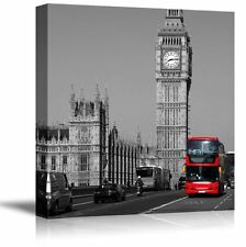 Photograph with Pop of Red on a Bus in London by the Big Ben - Canvas Art- 24x24