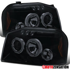 For 2001-2004 Frontier Glossy Black Smoke LED DRL Dual Halo Projector Headlights