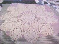 DOILIES VINTAGE LOT OF 4 - Ecru Crochet Vintage Doily Collection ONE CROSS DESIG