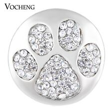 Ginger Snap Vocheng 18mm Paw Print Snap Charm Crystal DIY Jewelry Vn-1135