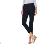 Isaac Mizrahi Live! Petite 24/7 Denim Fly Front Ankle Jeans Color Dark Indigo 14