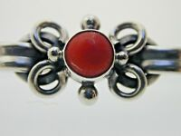 Coral Sterling Silver Floral Bar Brooch 5.20 Grams C-clasp