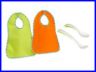 NEW 2pcs Touch and Close Fastening Bibs 1 Feeding and 1 Baby Spoon 0-18, 0-24 M