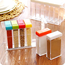 Rainbow Color Set of 6 Spice Shaker Seasoning Bottle Jar Condiment Storage