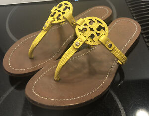 Tory Burch Mini Miller Yellow Smooth Leather /Textured Logo Sandals 5 M