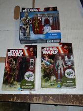 Star Wars TFA R2-D2 & C-3PO & KYLO REN & ESB LUKE SKYWALKER Figure Set of 3 NEW