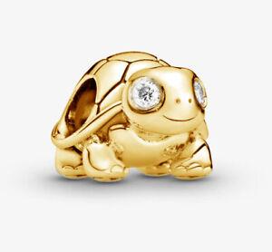 PANDORA Twinkling Turtle Charm 14K Gold Vermeil Plated 797878CZ