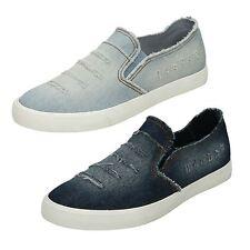 Ladies Slip On Distressed Denim Slip On Casual Pumps/Shoes F80233