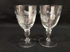 2 Vintage Crystal Etched FLowerDesign Sherry/Port/Cordial Glasses
