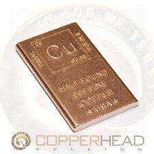 Half Pound (8 oz) Copper Bullion Bar Element Design Flat Rounded Edge 1/2 lb 1