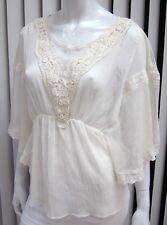 FREE PEOPLE SHEER EMBROIDERED BAT-WING SLEEVE BLOUSE SIZE S, IVORY