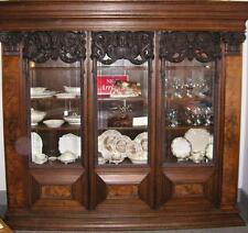 "RARE 1850's German Burled Walnut & Oak - CARVED BOOKCASE  ""ADJUSTABLE SHELVES"""