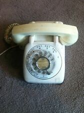 Vintage Automatic Electric Rotary Dial Desk Telephone Cream Beige WORKS