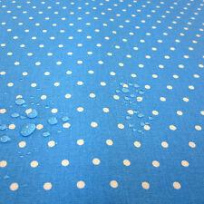 Stoff Baumwollstoff Punkte blau weiß beschichtet wasserdicht Wachstuch 6 mm