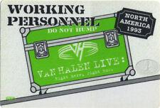 Van Halen 1993 North America Backstage Pass Crew Green