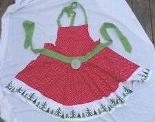 NWT DII Cotton Adult Green Red & White Polka Dot Ruffled Christmas Tree APRON