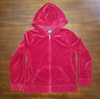 Lauren Ralph Lauren LRL M Red Long Sleeve Zip Up Velour Womens Hoodie Sweatshirt