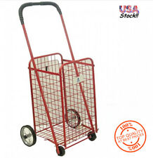 Grocery Cart on Wheels Laundry Shopping Folding Storage Toy Craft Utility Red