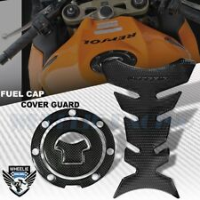 PERFORATED BLACK PRO GRIP TANK PAD+CARBON LOOK GAS CAP COVER 03+CBR-1000RR/600RR