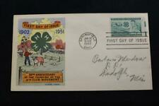 FLUEGEL COVER 1952 1ST DAY ISSUE 50TH ANNIV FOUNDING OF THE 4-H CLUB (5495)