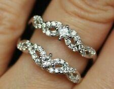 New 14K 1/2ct Real Diamond (H,I1) Double Row Chevron Enhancer Ring Guard Wrap S6