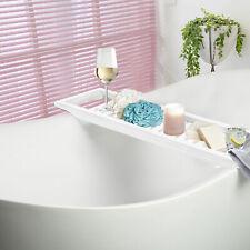 White Bamboo Wood Bath Tub Rack Bathroom Tidy Tray Storage Shelf Caddy Organiser