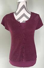 J JILL Womens Purple Plum Button Up Cotton Sweater w/ Perfect Cami Camisole XS