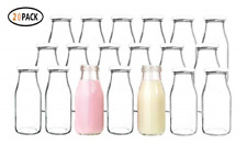 12 Oz Glass Bottles Milk With Lids Vintage Breakfast Shake Container Drinking