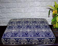 AL257t Royal Blue Beige Elephant Cotton Canvas 3D Box Seat Cushion Cover Custom