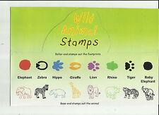 WILD ANIMAL STAMPS Animals & Footprints SET of 8 Different ELEPHANT,LION,TIGER..