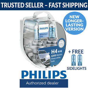 Philips WhiteVision White Vision Ultra Car Headlight Globes H4 (Twin Pack)