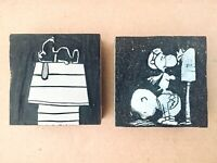 VTG SNOOPY & CHARLIE BROWN Rubber Stamp Wood American Crayon Co. Sandusky Ohio