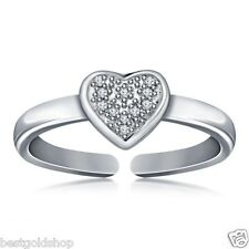 .925 Sterling Silver One Size Fits All Pave Cz Heart Toe Ring Real Solid