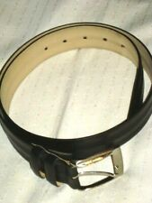 Mezlan Mens Belt Size 32 Black Leather Made In Spain Silver Square Buckle