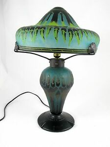 CHARLES SCHNEIDER FRENCH   CAMEO GLASS TABLE LAMP C 1915