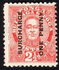 Tonga 1895 vermilion 1d on 2.5d perf 12 no wmk mint missing eyebrow SG30c