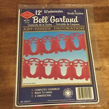 Vintage 1992 Beistle Westminster 12' Bell Garland Art Tissue Christmas Decor