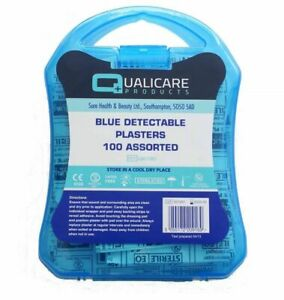 100 Assorted Blue Detectable Plasters & Plastic Case Catering FirstAid Washproof