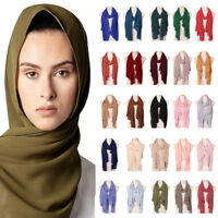 Women Muslim Chiffon Scarf Hijab Ladies Arab Long Wraps Shawl Scarves Headscarf