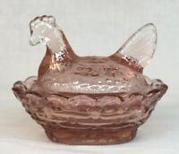 Boyd Art Glass Covered Rooster / Chick Salt Cranberry  # 183  Made 1-29-2002