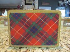Vintage Excellent Rare 1957 Ohio Art Luggage Plaid Metal Lunchbox