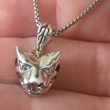 John Hardy Macan Tiger Head Sterling Silver Necklace w/Blue Topaz 16-18 Inches
