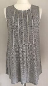 Anthropologie women's black & white striped top size M