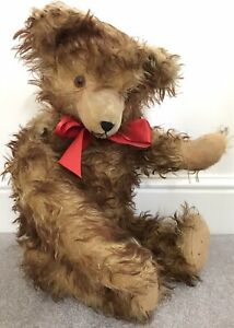 """Large Antique Hermann or Similar Tufted Mohair Jointed Teddy Bear 23.5"""" C.1950s"""