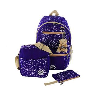 3PCs Girls Canvas Backpack Rucksack School College Travel Shoulder Bag Fashion