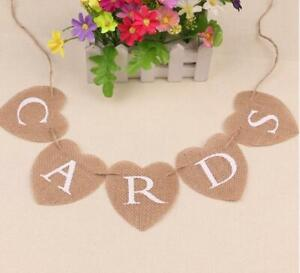 Cards Table Wedding Burlap Bunting - Natural Hessian Banner Decorations Banners