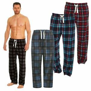 Mens Pyjama Bottoms, Checked Fleece Lounge Pants Nightwear Lougewear Size S-2XL