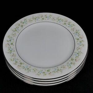 "Set of 4 Noritake Savannah Platinum Salad Plates 2031 Floral 8 1/4"" Dia"