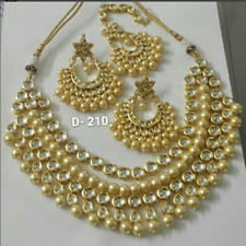 Kundan Traditional Gold Tone Bridal Necklace Earring Tikka Indian Jewelry Set-
